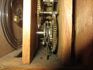 Inside of the clock's works.
