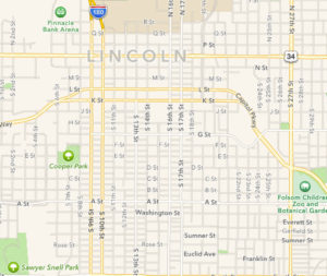 Map of Lincoln, from Apple Maps